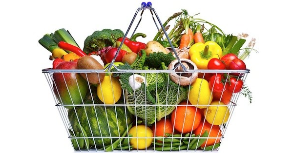 Basket full of healthy food